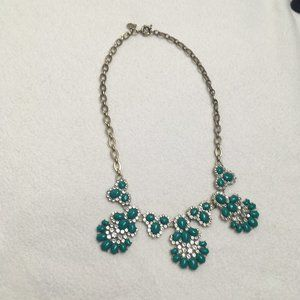 Brass Statement Necklace With Green Sparkle Stones